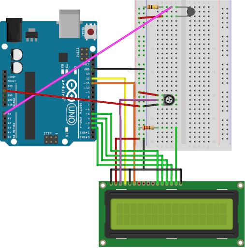Arduino Thermometer with LCD